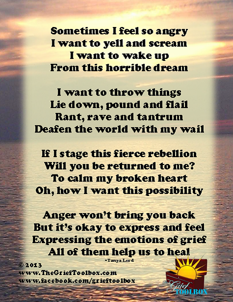 It Is Ok To Feel Anger In Grief A Poem The Grief Toolbox