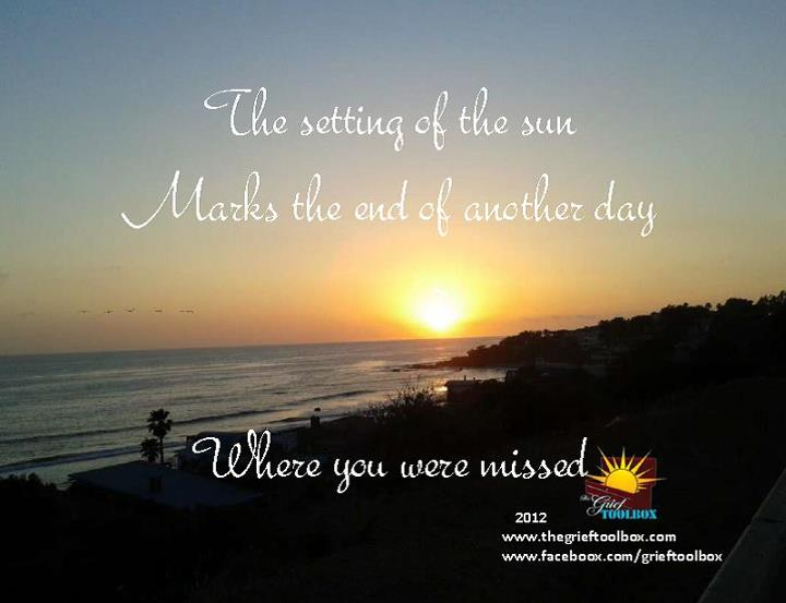 The setting of the sun marks another day in which you were ...