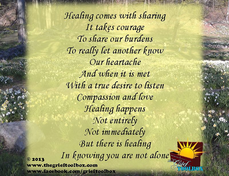 Healing In Knowing You Are Not Alone A Poem The Grief Toolbox