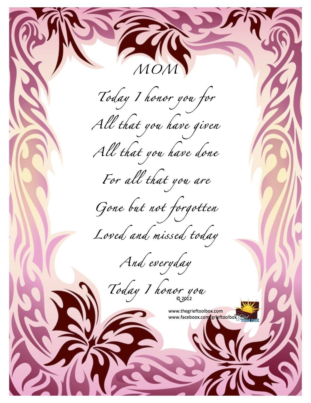 Mother's Day loved missed and honored every day - A Poem ...