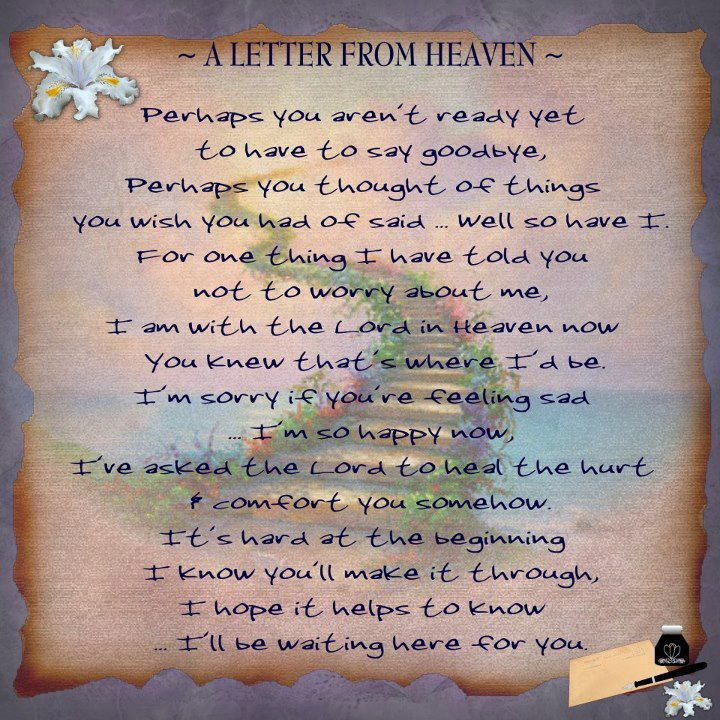 In Heaven Quotes Miss You: A Letter From Heaven