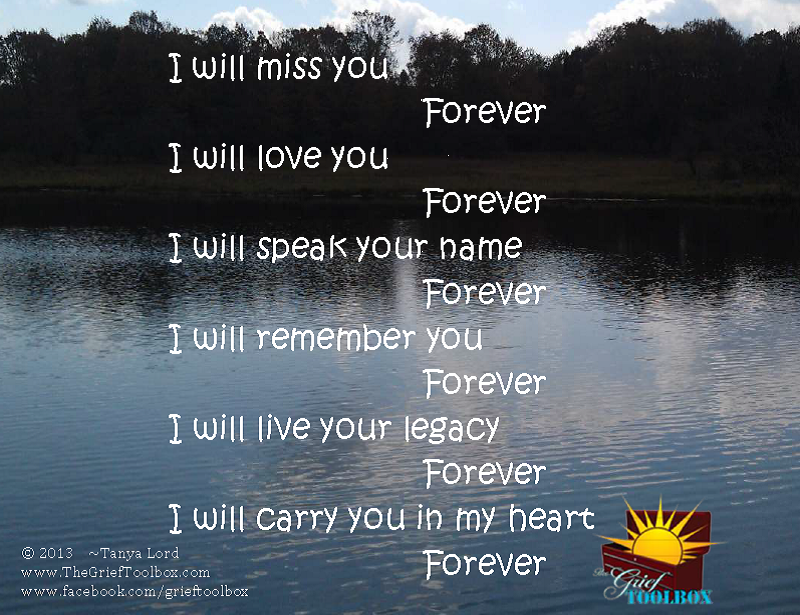 I will carry you in my heart forever - A Poem   The Grief